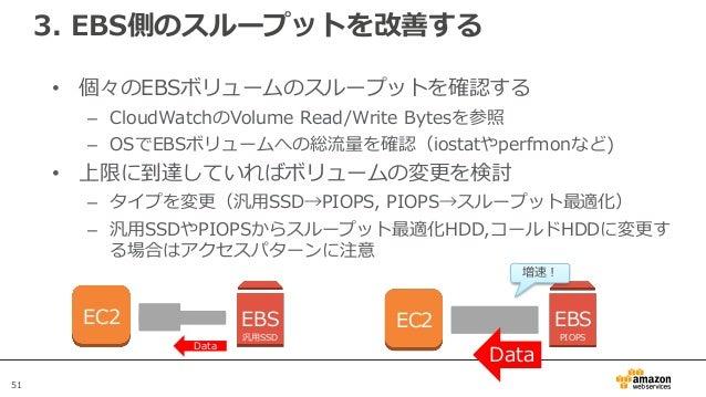 51 3. EBS側のスループットを改善する • 個々のEBSボリュームのスループットを確認する – CloudWatchのVolume Read/Write Bytesを参照 – OSでEBSボリュームへの総流量を確認(iostatやperf...