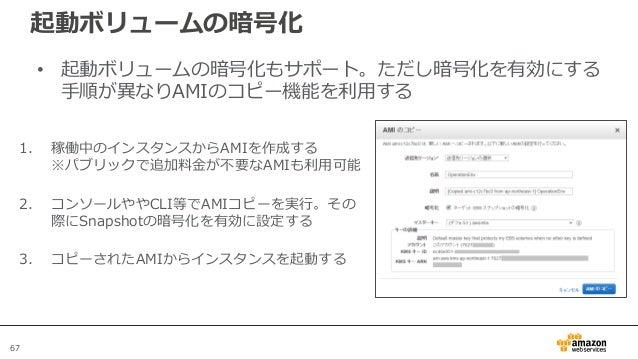 67 起動ボリュームの暗号化 • 起動ボリュームの暗号化もサポート。ただし暗号化を有効にする 手順が異なりAMIのコピー機能を利用する 1. 稼働中のインスタンスからAMIを作成する ※パブリックで追加料金が不要なAMIも利用可能 2. コンソ...