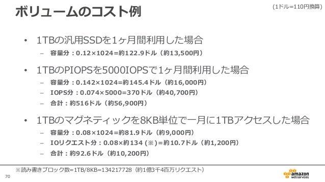 70 ボリュームのコスト例 • 1TBの汎用SSDを1ヶ月間利用した場合 – 容量分:0.12×1024=約122.9ドル(約13,500円) • 1TBのPIOPSを5000IOPSで1ヶ月間利用した場合 – 容量分:0.142×1024=約...
