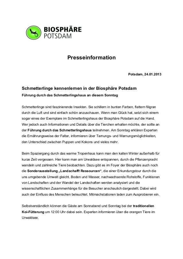 Presseinformation                                                                         Potsdam, 24.01.2013Schmetterling...