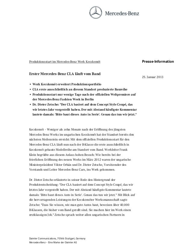 Produktionsstart im Mercedes-Benz Werk Kecskemét                                     Presse-InformationErster Mercedes-Ben...