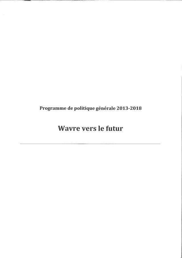 Programme de politique générale 2013-2018 Wavre