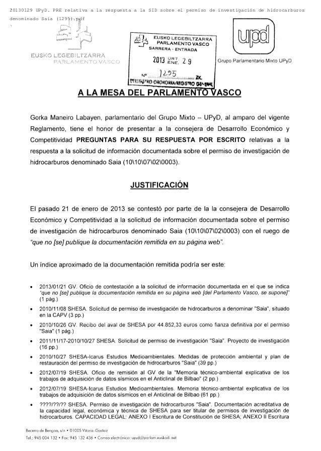 20130129 UPyD. PRE relativa a la respuesta a la SID sobre el permiso de investigación de hidrocarburosdenominado Saia (129...