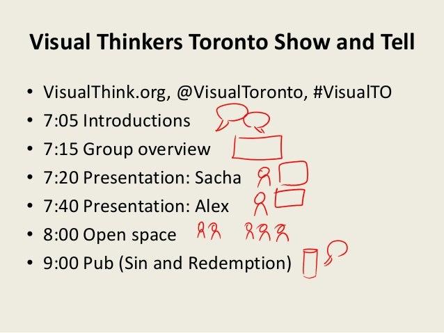 Visual Thinkers Toronto Show and Tell•   VisualThink.org, @VisualToronto, #VisualTO•   7:05 Introductions•   7:15 Group ov...