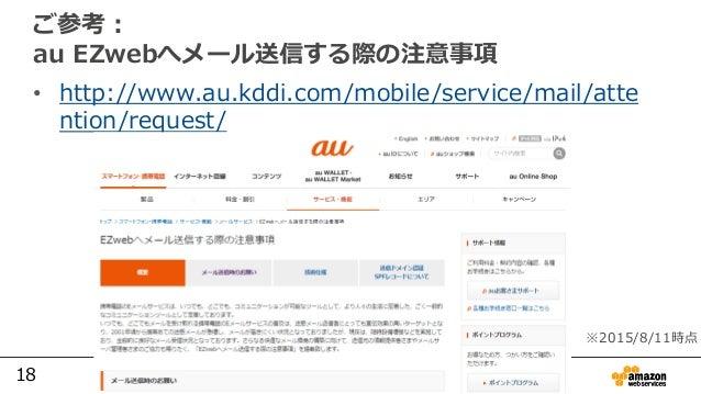 18 ご参考: au EZwebへメール送信する際の注意事項 • http://www.au.kddi.com/mobile/service/mail/atte ntion/request/ ※2015/8/11時点