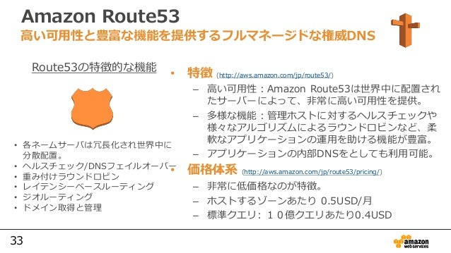33 Amazon Route53 • 特徴 (http://aws.amazon.com/jp/route53/) – 高い可用性:Amazon Route53は世界中に配置され たサーバーによって、非常に高い可用性を提供。 – 多様な機能:...