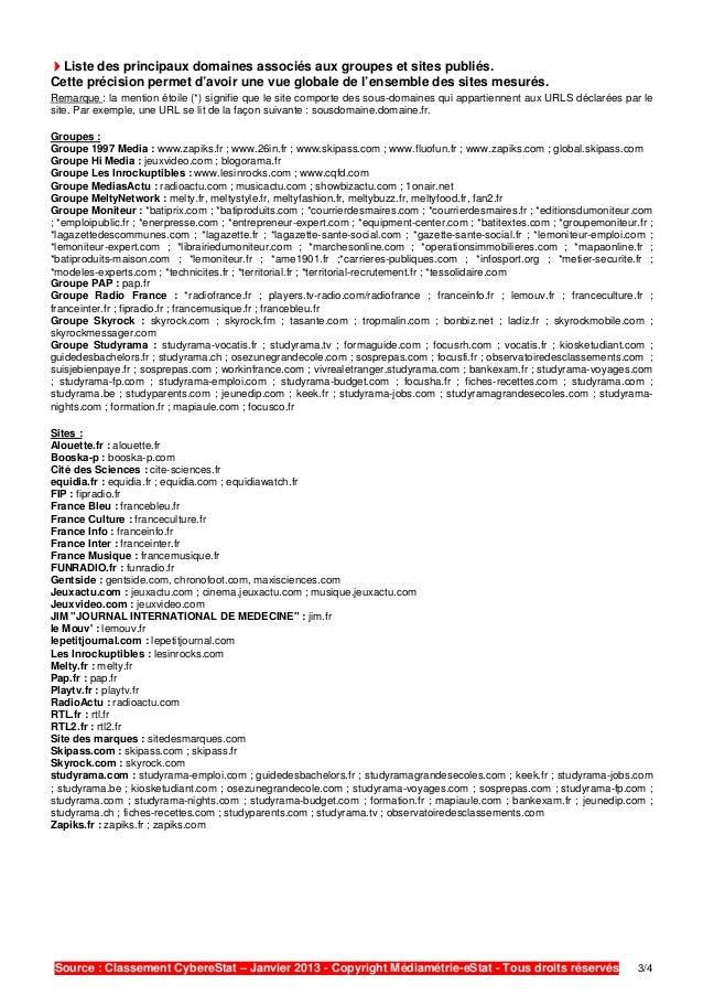 eStat Mediametrie - La fréquentation des sites Internet (06.03.13) Slide 3