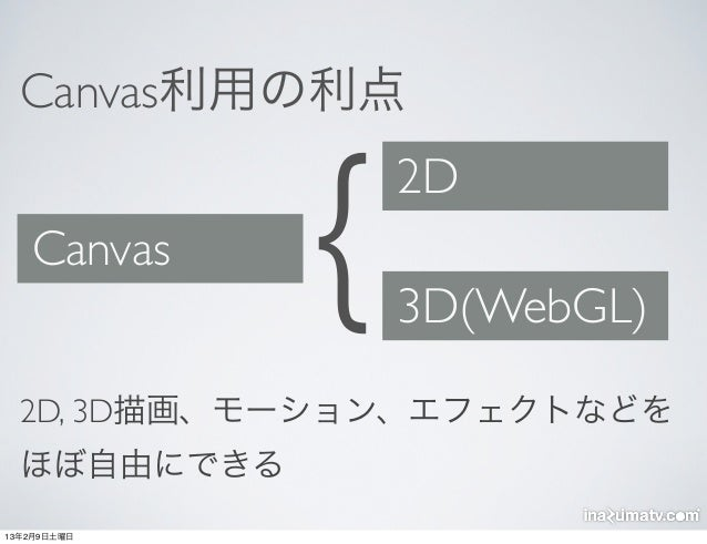 Canvas利用の利点   Canvas    {   2D                 3D(WebGL)  2D, 3D描画、モーション、エフェクトなどを  ほぼ自由にできる13年2月9日土曜日