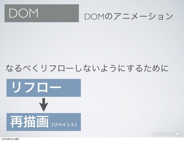DOM                 DOMのアニメーション  なるべくリフローしないようにするために    リフロー    再描画      (リペイント)13年2月9日土曜日