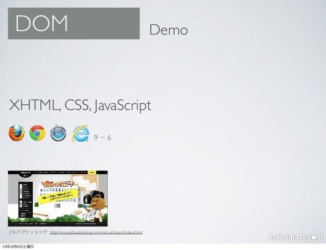 DOM                                                               Demo  XHTML, CSS, JavaScript                            ...