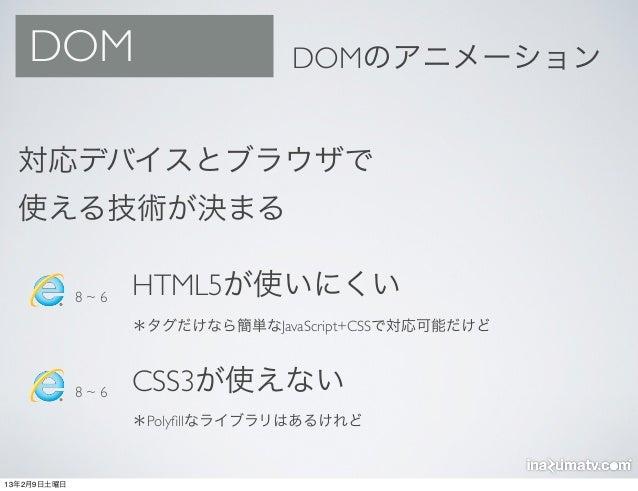 DOM                           DOMのアニメーション  対応デバイスとブラウザで  使える技術が決まる             8~6   HTML5が使いにくい                   *タグだけなら...