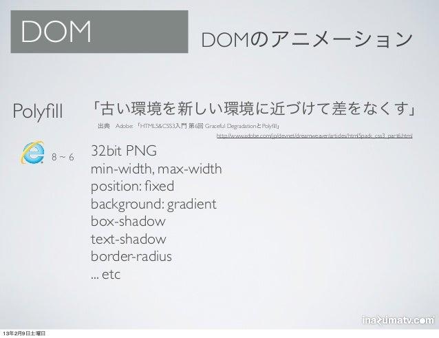 DOM                                             DOMのアニメーション  Polyfill          「古い環境を新しい環境に近づけて差をなくす」                    出典...