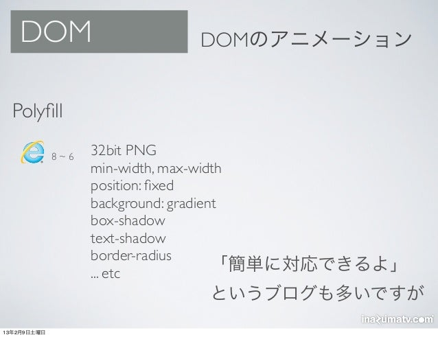 DOM                       DOMのアニメーション  Polyfill             8~6   32bit PNG                   min-width, max-width         ...