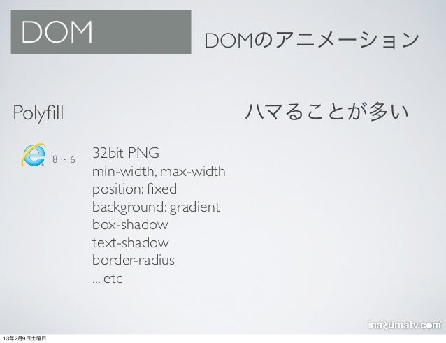 DOM                             DOMのアニメーション  Polyfill                                 ハマることが多い             8~6   32bit PNG ...