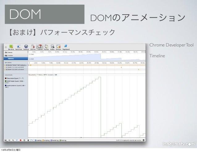 DOM        DOMのアニメーション  【おまけ】パフォーマンスチェック                     Chrome Developer Tool                     Timeline13年2月9日土曜日