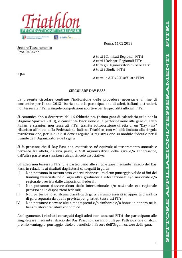 Roma, 11.02.2013Settore TesseramentoProt. 0434/eb                                                   A tutti i Comitati Reg...