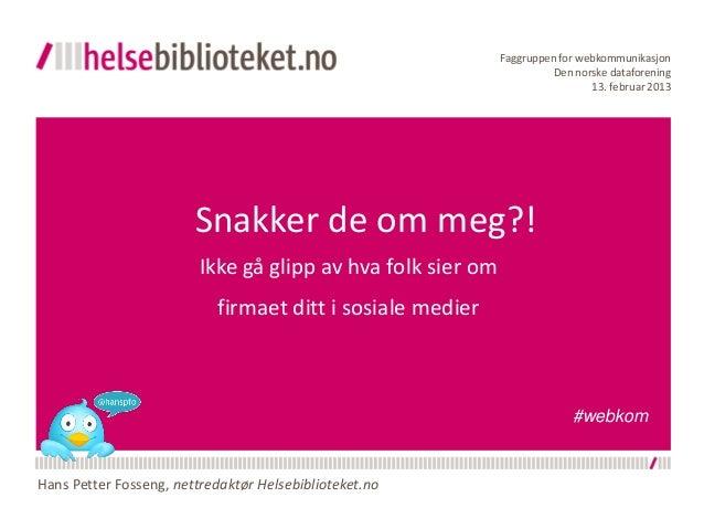 Faggruppen for webkommunikasjon                                                                       Den norske dataforen...