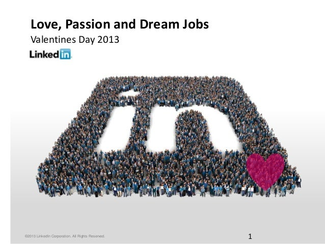 Love, Passion and Dream Jobs   Valentines Day 2013©2013 LinkedIn Corporation. All Rights Reserved.   1