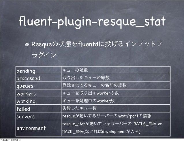 fluent-plugin-resque_stat              Resqueの状態をfluentdに投げるインプットプ              ラグイン        pending       キューの残数        proc...