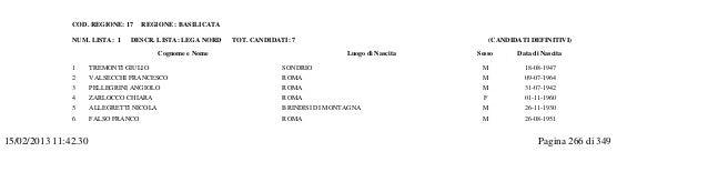 ELEZIONE DEL SENATO DELLA REPUBBLICA DEL 24 FEBBRAIO 2013                                                                 ...