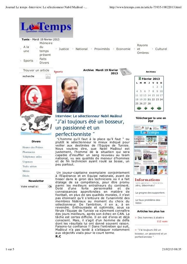 Journal Le temps -Interview: Le sélectionneur Nabil Maâloul -...               http://www.letemps.com.tn/article-73935-190...