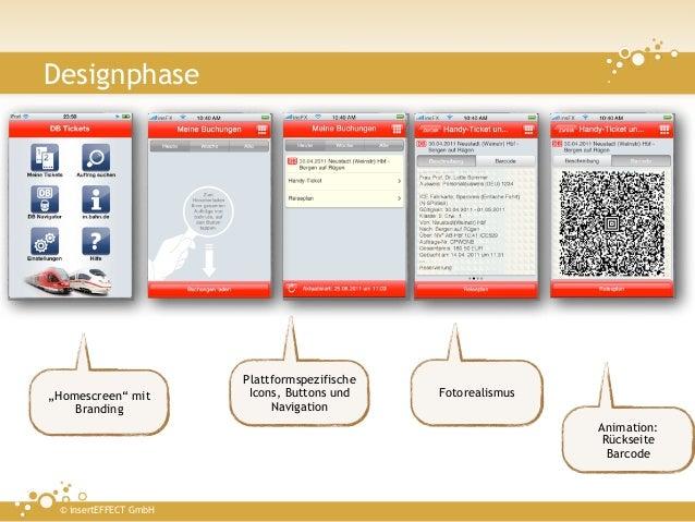 """Designphase                       Plattformspezifische""""Homescreen"""" mit        Icons, Buttons und    Fotorealismus    Brand..."""
