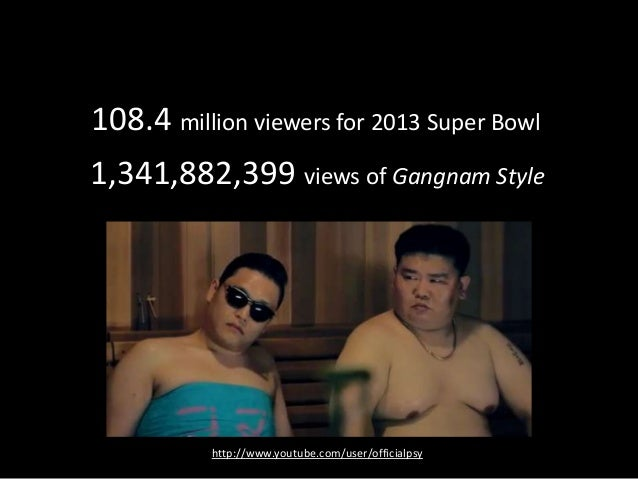 108.4 million viewers for 2013 Super Bowl1,341,882,399 views of Gangnam Style
