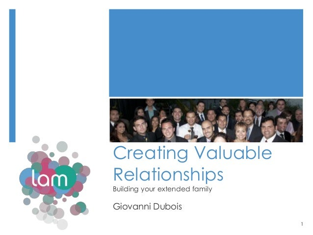 Creating ValuableRelationshipsBuilding your extended familyGiovanni Dubois                                1