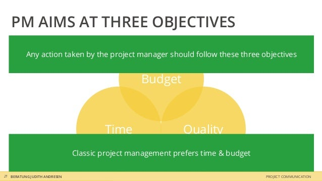 PM AIMS AT THREE OBJECTIVES          Any action taken by the project manager should follow these three objectives         ...