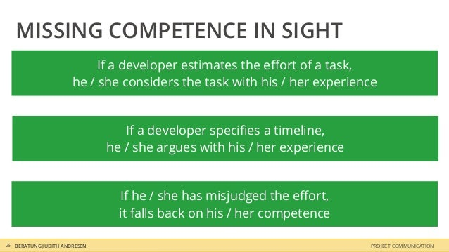 MISSING COMPETENCE IN SIGHT                           If a developer estimates the effort of a task,                      h...