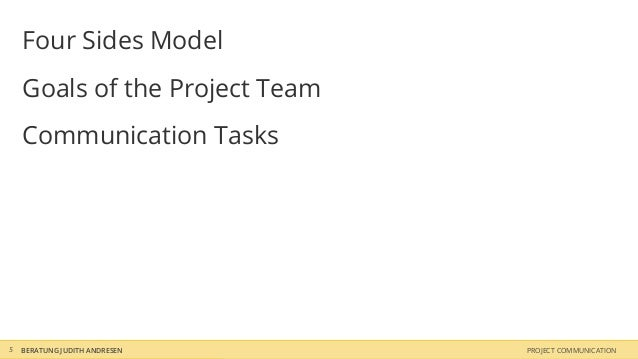 Four Sides Model    Goals of the Project Team    Communication Tasks5   BERATUNG JUDITH ANDRESEN    PROJECT COMMUNICATION