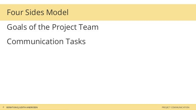 Four Sides Model    Goals of the Project Team    Communication Tasks6   BERATUNG JUDITH ANDRESEN    PROJECT COMMUNICATION