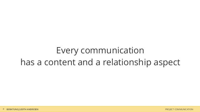 Every communication              has a content and a relationship aspect9   BERATUNG JUDITH ANDRESEN                     P...
