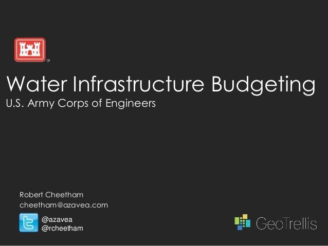 Water Infrastructure BudgetingU.S. Army Corps of Engineers  Robert Cheetham  cheetham@azavea.com      @azavea      @rcheet...