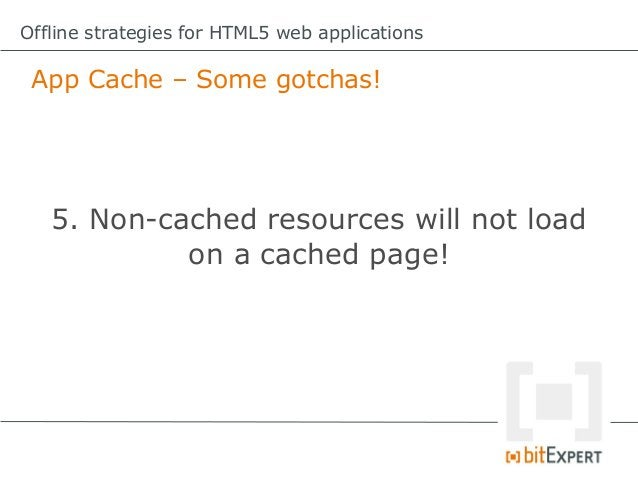 Offline strategies for HTML5 web applications Storing dynamic data locally (in HTML5)      Web Storage, Web SQL Database, ...