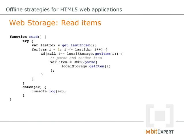 Offline strategies for HTML5 web applications Web SQL Database