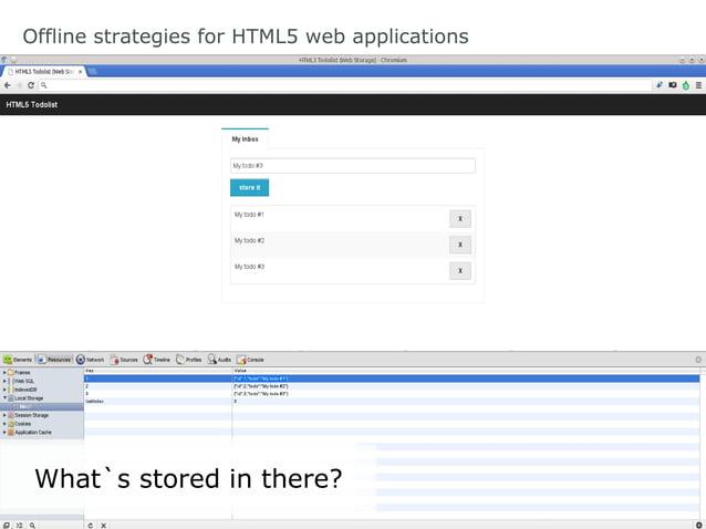 Offline strategies for HTML5 web applications Web SQL Database: Modify item functionmodify(item){     db.transaction(fun...
