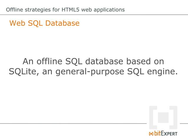 Offline strategies for HTML5 web applications IndexedDB