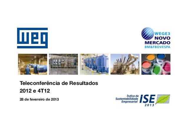 Teleconferência d ResultadosT l     f ê i de R    lt d2012 e 4T1228 de fevereiro de 2013