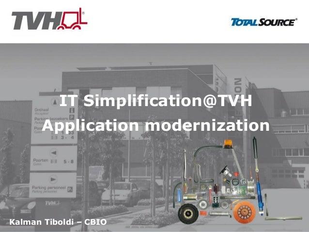 Kalman Tiboldi – CBIOIT Simplification@TVHApplication modernization