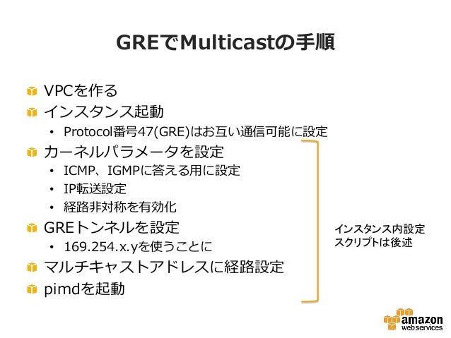 Multicastの疎通を試す root@ip-‐‑‒10-‐‑‒3-‐‑‒8-‐‑‒119:/etc/network/interfaces.d# ping 224.0.0.1 PING 224.0.0.1 (224.0.0.1) 5...