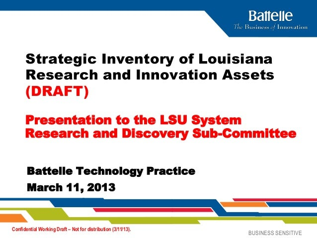 Strategic Inventory of Louisiana      Research and Innovation Assets      (DRAFT)      Presentation to the LSU System     ...