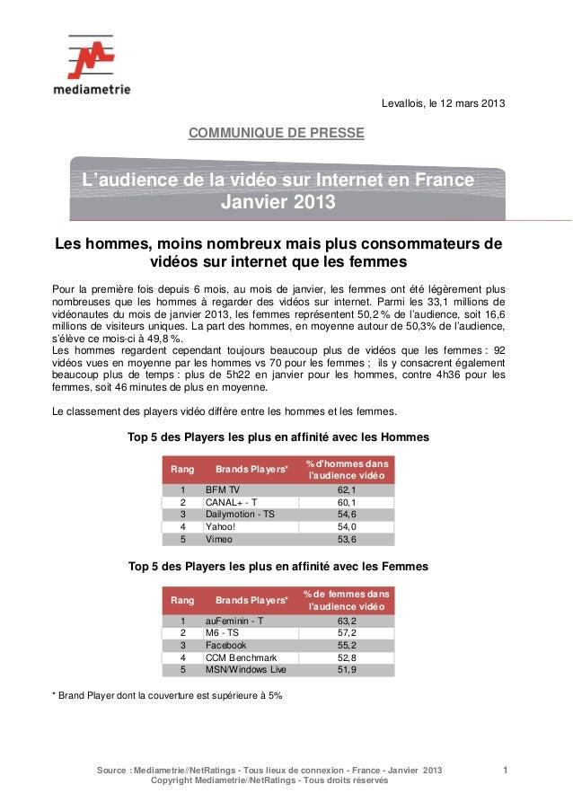 Levallois, le 12 mars 2013                                 COMMUNIQUE DE PRESSE      L'audience de la vidéo sur Internet e...