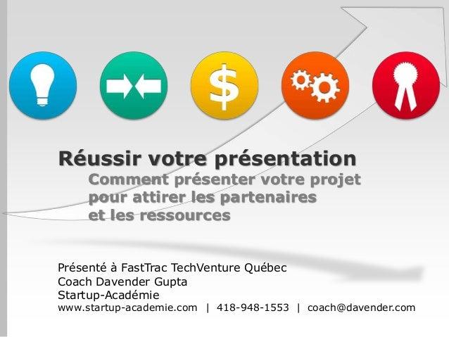 Réussir votre présentation     Comment présenter votre projet     pour attirer les partenaires     et les ressourcesPrésen...