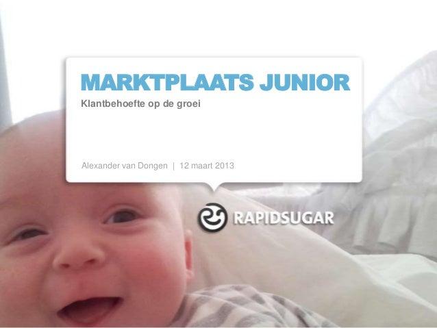 MARKTPLAATS JUNIORKlantbehoefte op de groeiAlexander van Dongen | 12 maart 2013