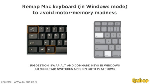 Remap Mac keyboard (in Windows mode)                 to avoid motor-memory madness                   SUGGESTION: SWAP ALT ...