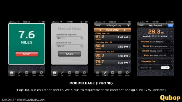 MOBIMILEAGE (IPHONE)        (Popular, but could not port to WP7, due to requirement for constant background GPS updates)3....