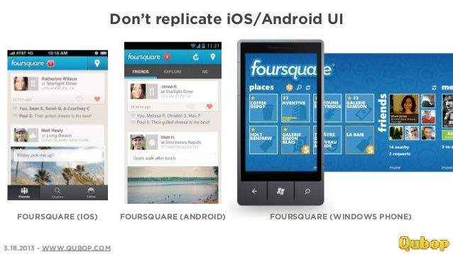 Don't replicate iOS/Android UI   FOURSQUARE (IOS)         FOURSQUARE (ANDROID)   FOURSQUARE (WINDOWS PHONE)3.18.2013 - WWW...