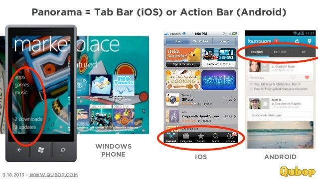 Panorama = Tab Bar (iOS) or Action Bar (Android)                            WINDOWS                             PHONE     ...