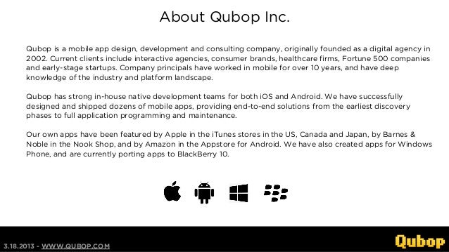 About Qubop Inc.     Qubop is a mobile app design, development and consulting company, originally founded as a digital age...